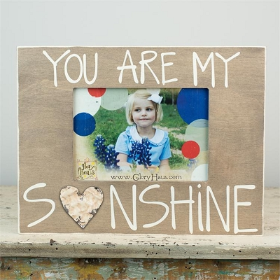 You Are My Sunshine' Board Frame with Tin Heart