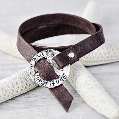'Live in Gratitude' Leather Wrap Bracelet