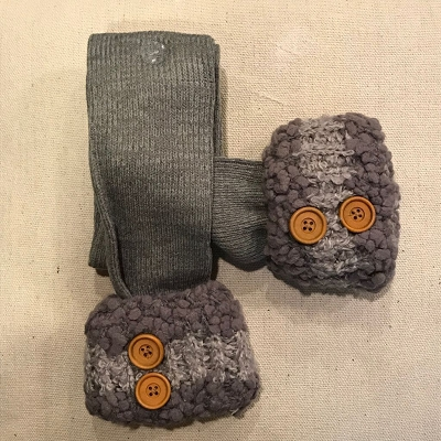 Knubby Boot Socks with Buttons Stone Gray