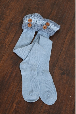 Knubby Boot Socks with Buttons in Sea Glass
