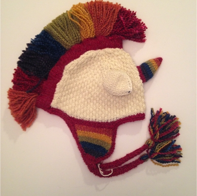 Hand Knit Unicorn Earflap Hat