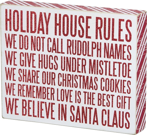 Holiday Rules' Box Sign