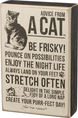 Advice From Cat Box Sign