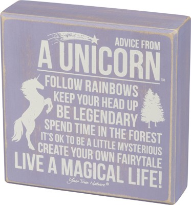 Advice From Unicorn Box Sign