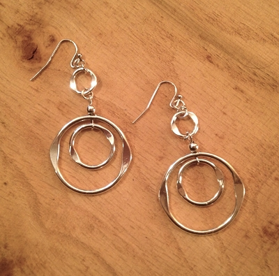 Silver'ish' Organic Ring Earrings