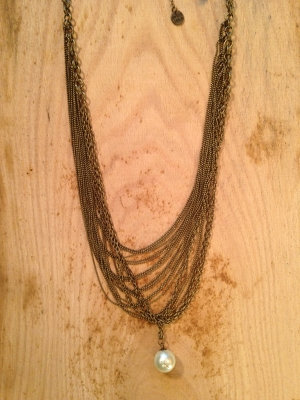 Antique Bronze Chain Necklace with Pearl Accent