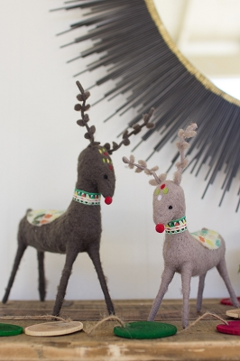 Set of Two Felt Deer with Colorful Saddles