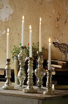 Antiqued Silver Glass Taper Candle Holder 11.5