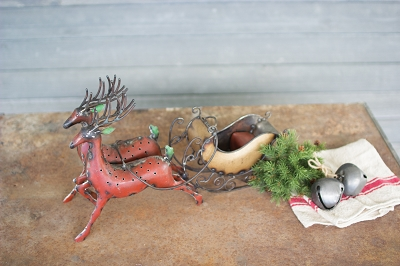 Recycled Iron Reindeer with Sleigh