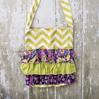 Green Chevron Ruffle Bag