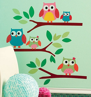 Owls Peel n' Stick Large Wall Decals