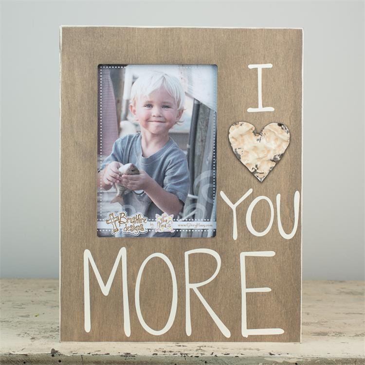 Love You More Board Frame With Tin Heart