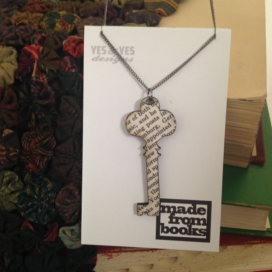 Skeleton Key Text Necklace